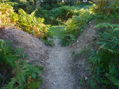 The path crosses the earthwork